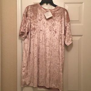 Light pink velour tshirt dress! Nwt